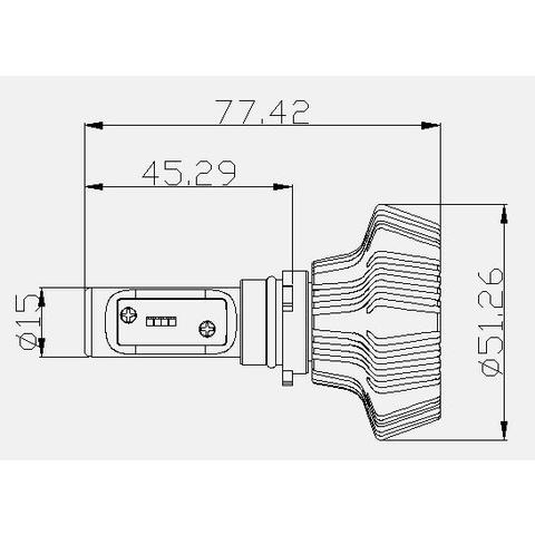 Набір світлодіодного головного світла UP-7HL-P13W-4000Lm (P13, 4000 лм, холодний білий) Прев'ю 4